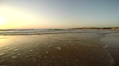 Low tide at sunset on the Mediterranean Sea Stock Footage