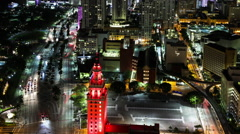 Busy Downtown Miami City at Night Stock Footage