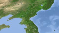 North Korea on maps - Do It Yourself as you like. Neighbourhood Stock Footage