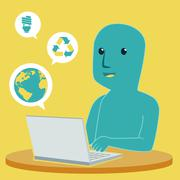 Blue man playing computer and social network - stock illustration
