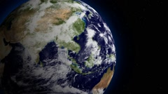 3D space view of planet Earth rotating - stock footage