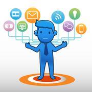 Businessman social icon group element Stock Illustration