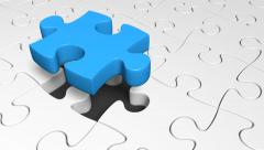 Strategy concept of a 3D missing puzzle piece providing a successful solution Stock Footage