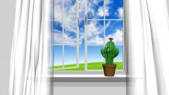 Home interior and open window with blue summer sky and a happy cactus man Arkistovideo