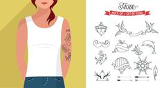 Girl with t-shirt and tattoos set, vector flat template Stock Illustration