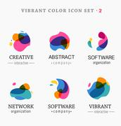 Set of trendy abstract, vibrant and colorful icons - stock illustration