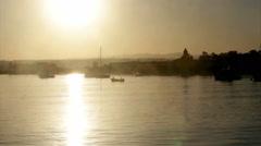 Algarve - Tavira Island - Ria Formosa Sunset Boats Stock Footage