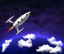 spaceship flies over Earth planet - stock illustration
