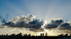 Sunset Timelapse over City of Miami Stock Footage
