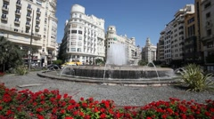 Fountain in Valencia, Spain Stock Footage