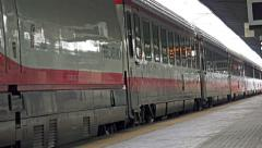 Italian fast train depart at Mestre station platform Stock Footage