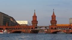 Berlin, Kreuzberg Skyline - Oberbaum bridge Stock Footage