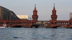 Oberbaumbruecke - Berlin, river bridge / skyline Stock Footage