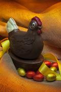 Easter - Chocolate Hen and Eggs Stock Photos