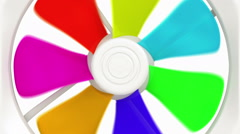 Close view at the colorful spinning fan blades. Stock Footage