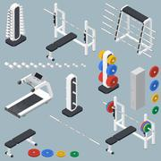 Stock Illustration of Athletic accessories for fitness center isometric icons set