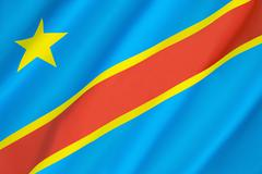 Flag of the Democratic Republic of the Congo Stock Photos