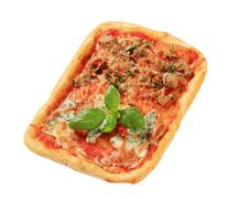 Rectangular pizza topped with blue cheese and tuna - stock photo