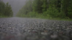 Hail falls on the road - stock footage