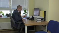 Unfair fraud officer clerk worker count euro banknotes. 4K Stock Footage