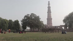 Tower Qutub Minar in New Delhi, India Stock Footage