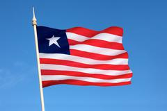 Flag of Liberia - Flag of Convenience - stock photo
