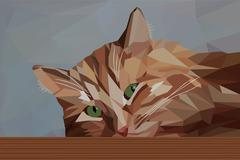 Stock Illustration of Pensive red cat