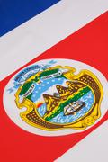 Detail on the flag of Costa Rica - stock photo