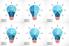 Vector light buble infographics set. Template for circle diagram, graph - stock illustration