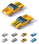 Vector isometric utility coupe car - stock illustration