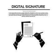 Business Man Document Signature Black Hands Silhouette Signing Up Contract - stock illustration