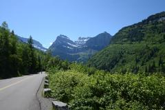 Stock Photo of Biking the Going to the Sun Road in Glacier National Park