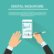 Stock Illustration of Digital Signature Smart Cell Phone Businessman Hands Sign Up