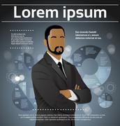 Businessman African American Ethnic Executive Fashion Black Suit Head - stock illustration