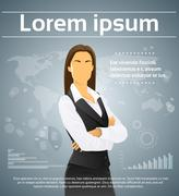 Businesswoman Executive Finance Infographic Background - stock illustration