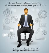 Businessman Executive Sitting Chair over Gray Finance - stock illustration