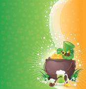 Saint Patrick's Day background with symbols of Ireland Piirros