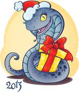 Adorable little snake with Christmas gift.  Stock Illustration