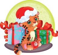 Stock Illustration of Adorable Tiger-cub with Christmas gifts