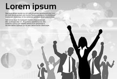 Business People Group Silhouette Excited Hold Hands Up Raised Arms - stock illustration