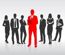 Stock Illustration of Red Businessman Silhouette, Black Business People Group Team Concept
