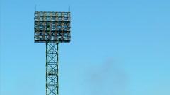 A football stadium floodlight Stock Footage