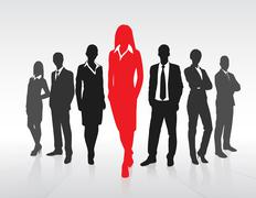 Stock Illustration of Red Businesswoman Silhouette, Black Business People Group Team Concept