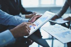 Analyzing electronic document - stock photo