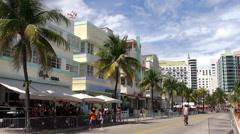 Miami Beach Art Deco District (Ocean Drive aria). Stock Footage