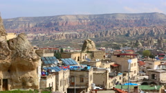 Cappadocia turkey village panorama Stock Footage