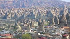 Cappadocia turkey village long shot Stock Footage