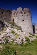 Ruins of the former border fortress, Slovak Castle Plavecky, undergoing the d Stock Photos