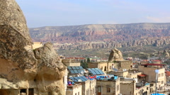 View of the city in the historical Cappadocia in Turkey Stock Footage