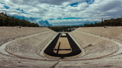 Panathenaic Stadium Athens Greece,wide timelapse overview,blue sky and clouds Stock Footage